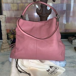 Coach Pink pebble leather big purse